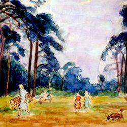 Promeneurs dans « La Clairière », forêt de Fontainebleau