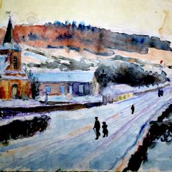 Village normand sous la neige