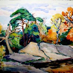 Rochers et feuillages à l'automne, forêt de Fontainebleau