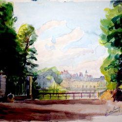 Vue du jardin anglais sur l'Etang aux Carpes, Château de Fontainebleau