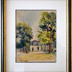 Jardin anglais, maison du garde  Château de Fontainebleau (Aquarelle)
