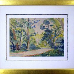 Chemin en sous-bois    lieu-dit du  « Bréau »   Fontainebleau  (Aquarelle)